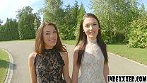 Hot brunettes enjoy threesome anal sex