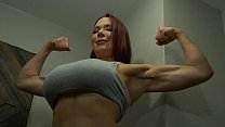 Muscular Giantess Eats Tiny Man in Her Kitchen's Thumb