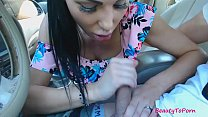 Amateur beauty gives short blowjob in the car, ...