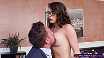 Teen with glasses pleasuring the cock of her pr...