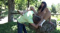 cute milf fucked and spermed outdoor