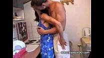 sex in horny couple kitchen