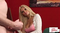 Busty domina teasing during CFNM scene