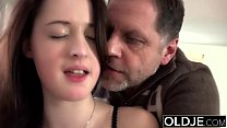 Old Young Amazing BIG TITS girl fucks old man c...
