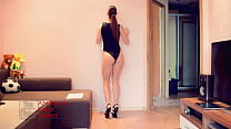 Very Sexy Long Leg Try-On Booty Dance in Swimsuit One Piece Onesie Thumbnail
