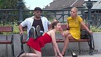 Brunette slave foot worship in public Thumbnail