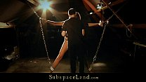 Leashed in chain blonde slut sucking the dom cock Thumbnail