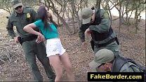 Scared brunette caught crossing border abused b...