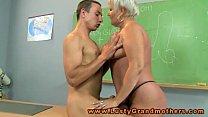 Granny amateur teacher pleasured on desk