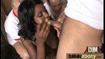 Ebony girlfriend takes huge loads of cum on her face 15