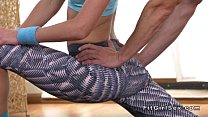 Flexible fit blonde bangs her yoga teacher