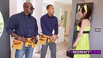 Rough MILF got her pussy pounded by two black g...