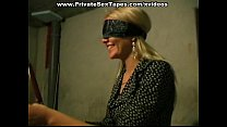 Blindfold girl gets anal sex toy up her ass
