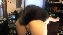 Teen with fox tail butt plug - Webcam