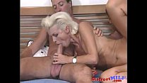Slutty blonde MILF gets DP