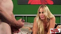 Stunning blonde in lingerie watching loser