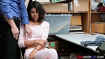 Tiny teen shoplifter caught by a guard and has ...