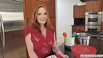 Sexy redhead MILF Summer Hart is very supportive to her stepson,she even gave him a surprise blowjob for him to get ready for college life.