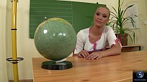 Misty Mild plays with her pussy after school