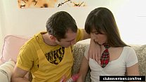 Kinky schoolgirl Aliya sucking a hard dick