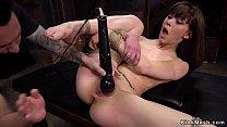 Brunette slave gets fisting training thumb