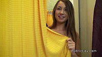 Natural busty ababe banged in public change room