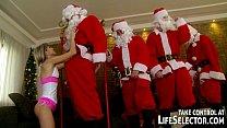 Young Doris Ivy anal fucked by 5 Santas
