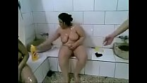 Tunisian fat ladies at the hammam making sex using shampoo bottles's Thumb