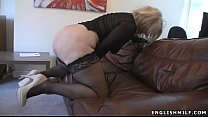 Big ass British milf in stockings with vibrator