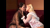 Lesbians in stockings kissing and foot fetish