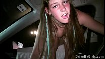 Facial cum on a young blonde teen girl face in public gang bang dogging orgy Thumbnail