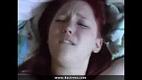 Chubby redhead girlfriend sucks and fucks her man