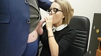 Cute office secretary sucks off her boss and sw...
