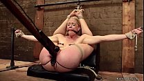 Gagged hogtied blonde pussy toyed