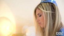 Stewardess Eva Parcker Swallows Detectives' Big Veiny Dicks In Threesome