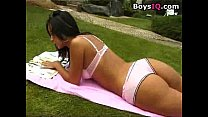 Lesbians play with their toys in the backyard - free porn video