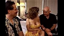 Husband watching his horny wife exploited by 3 hard cocks