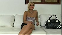 Blonde with small tits fucked on couch on casting