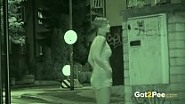 Public Pissing - Night vision catches a hot Eur...