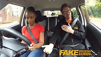 Fake Driving School ebony learner with big tits...