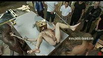 Gay hunk bound on a table and rammed