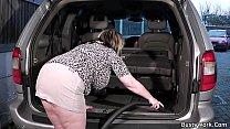 Man fucks busty working women in the car