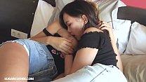 Hot lesbian Mary Kalisy having fun with Asian teen