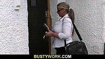 Blonde BBW sucks and rides customer's cock Thumbnail