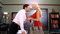 Busty MILF blonde shows up in an office with a ...