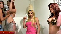 Kinky tranny drills fat shemale ass with horny ...