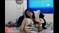 Cute brunette teen fingering pussy on cam