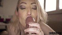 Candy May - Blonde gives handjob and tongue job...