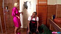 Rich blonde house wife sucks two cocks for hand...