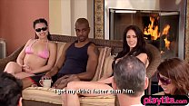 Amateur couple try the orgy room in a famous sw...